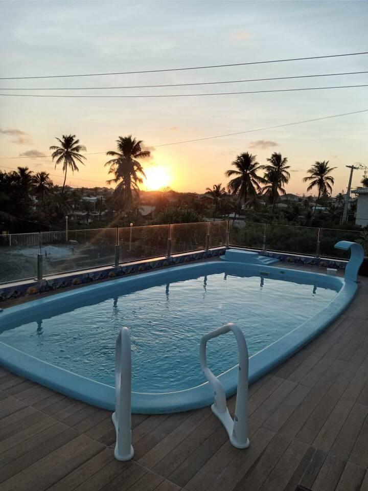 Casa  Jacuipe ,frente praia, piscina na cobertura.