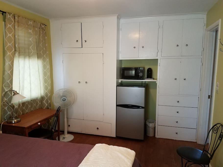 Desk, Closet, Fridge & Microwave