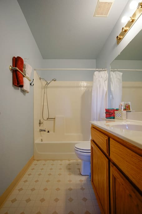 Share full bathroom located upstairs