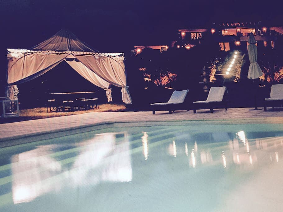 Pool and house by night