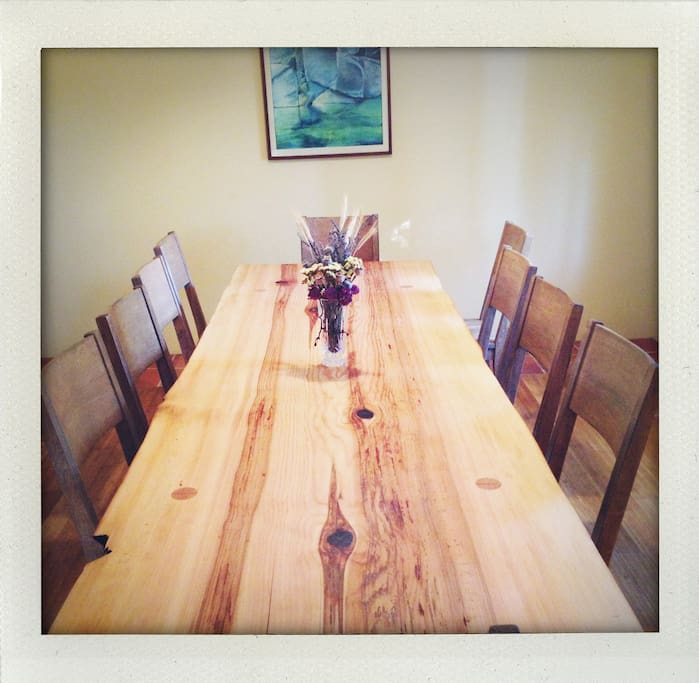 Douglas Fir Table, Handcrafted, seats 14; extra folding tables provided