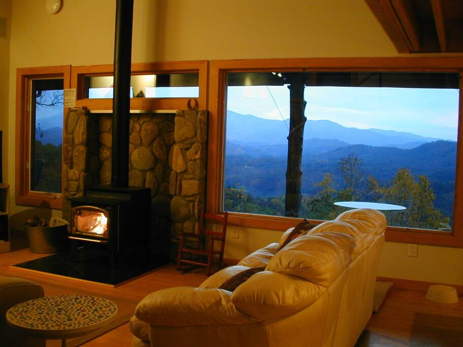 Cozy up to the wood stove while enjoying the 5 star VIEWS