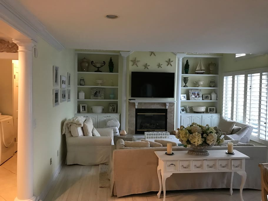 """Living room with big 56"""" smart TV and a gas fireplace!"""