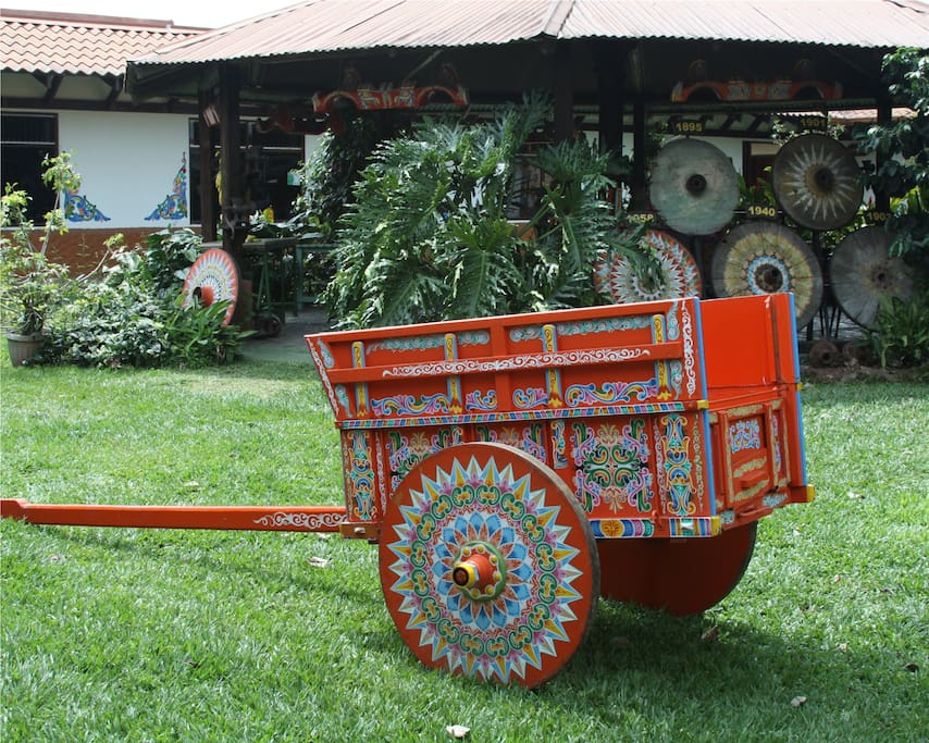 Beautifully decorated coffee carts are part of the history and culture of Costa Rica
