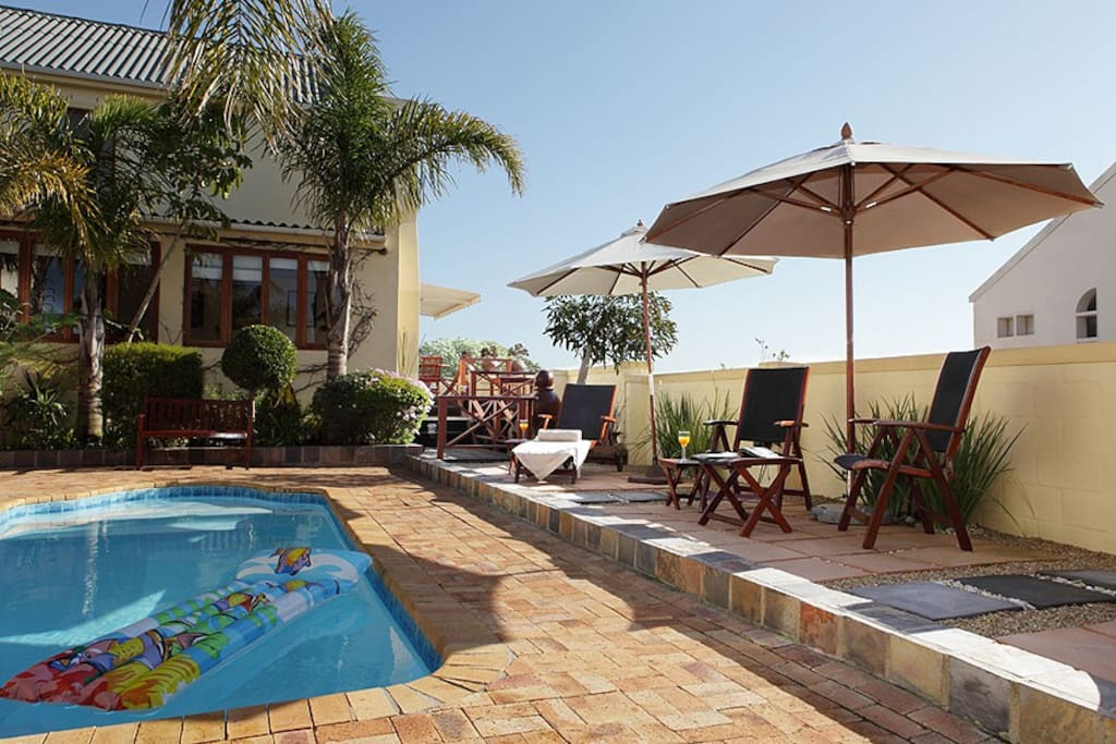 The heated salt water pool in a secluded courtyard