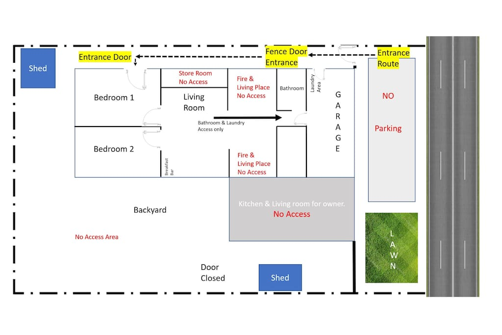 Room layout & Entrance image. Please note the position of the bedrooms, the bathroom and the private entrance through the backyard. The bathroom is across 2 living rooms, the second of which is occupied by the owners. Only Bedroom1 is listed here. Please check our other listing for booking both bedrooms.