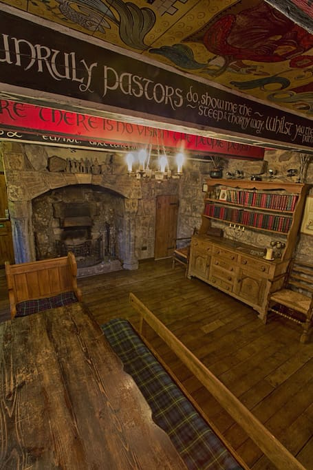 Medieval Banqueting room with original stone fireplace