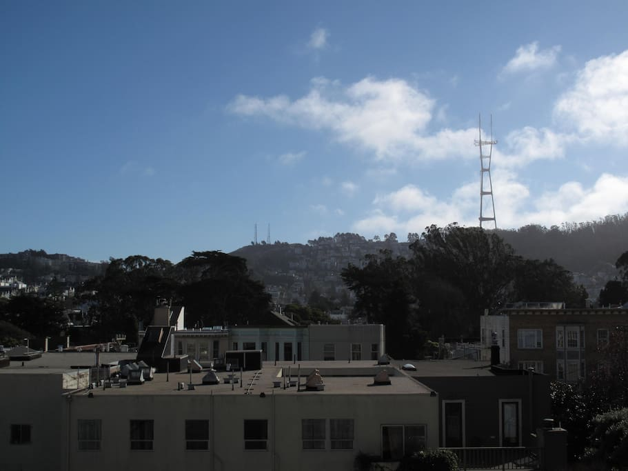 View of Sutro Tower and nature preserves from kitchen and living room.
