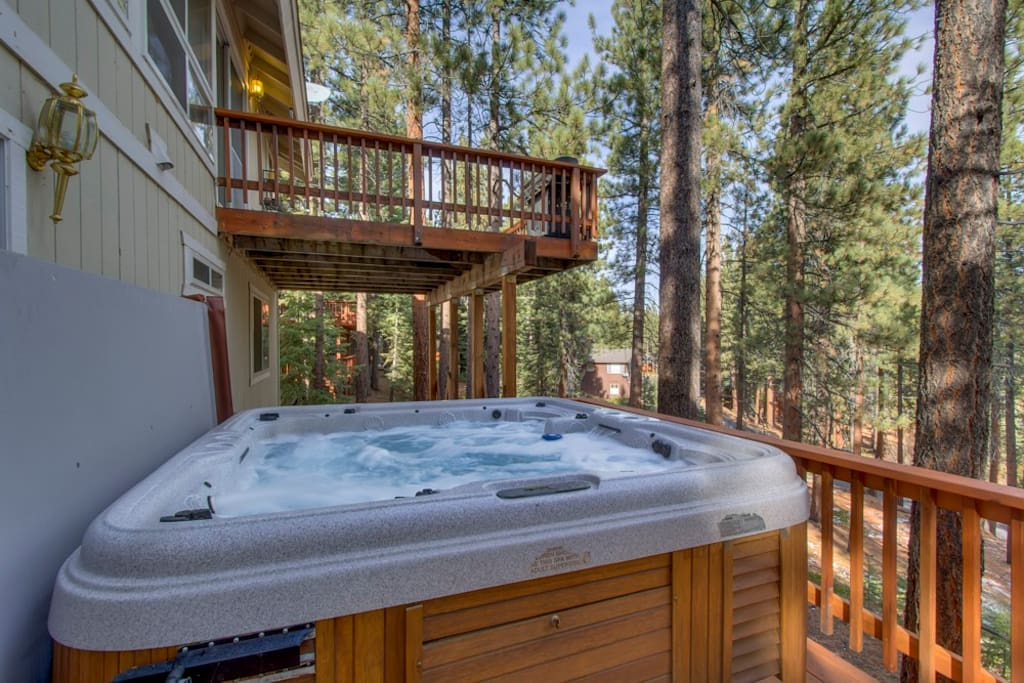 Relax under the stars in this hot tub, which accommodates 6 people.