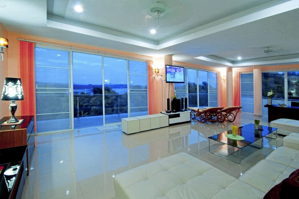 The living room at dawn. Beautiful colors.