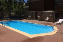 Heated Pool- Enclosed to protect from wind.  Open summer months only.
