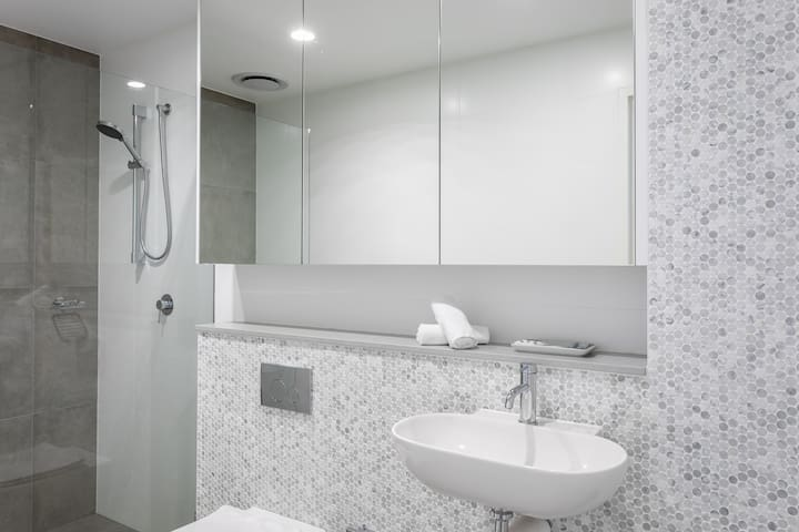 modern state of the art bathroom with massive shower fitted with European fixtures, basic sanitary supplies are provided complimentary.