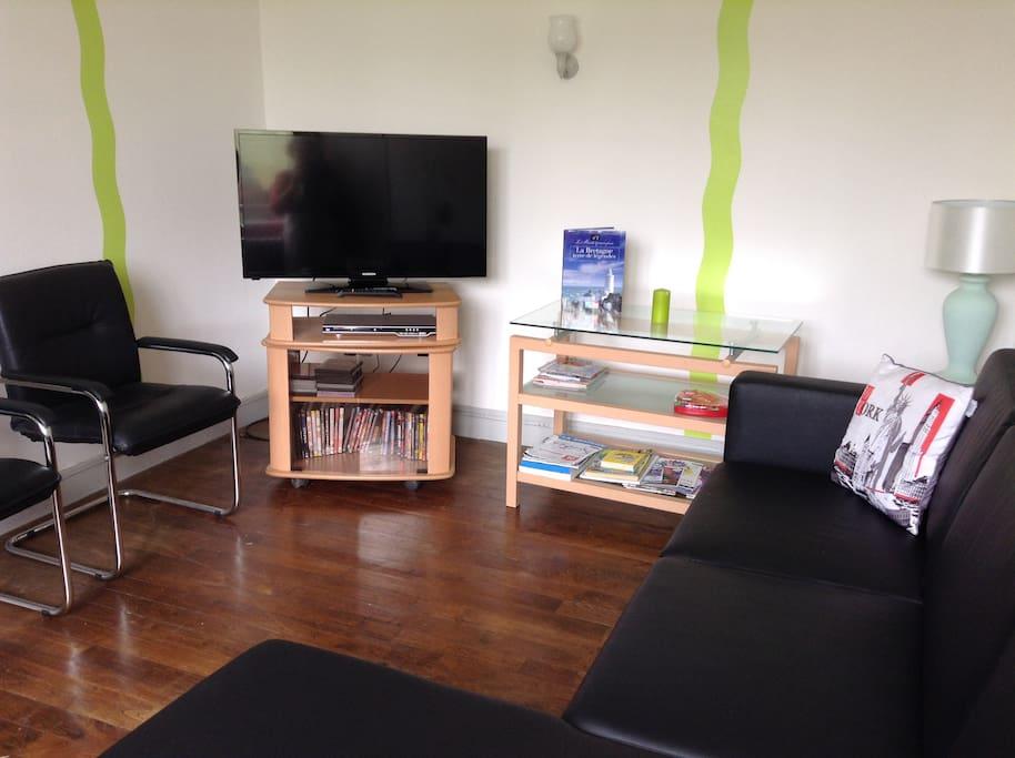 Salon avec téléviseur,lecteur DVD et une cinquantaine de vidéos,canapé et fauteuils