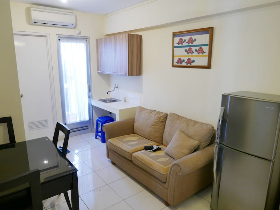 Living Room - Couch, Fridge, AC