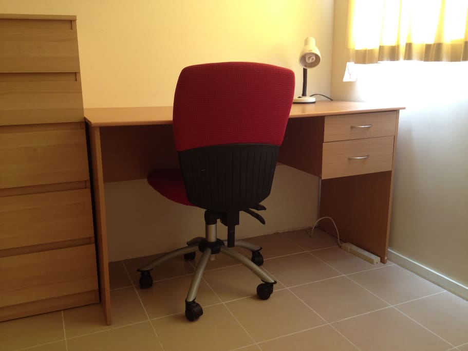 The room has study desk, chair, table lamp and unlimited WiFi