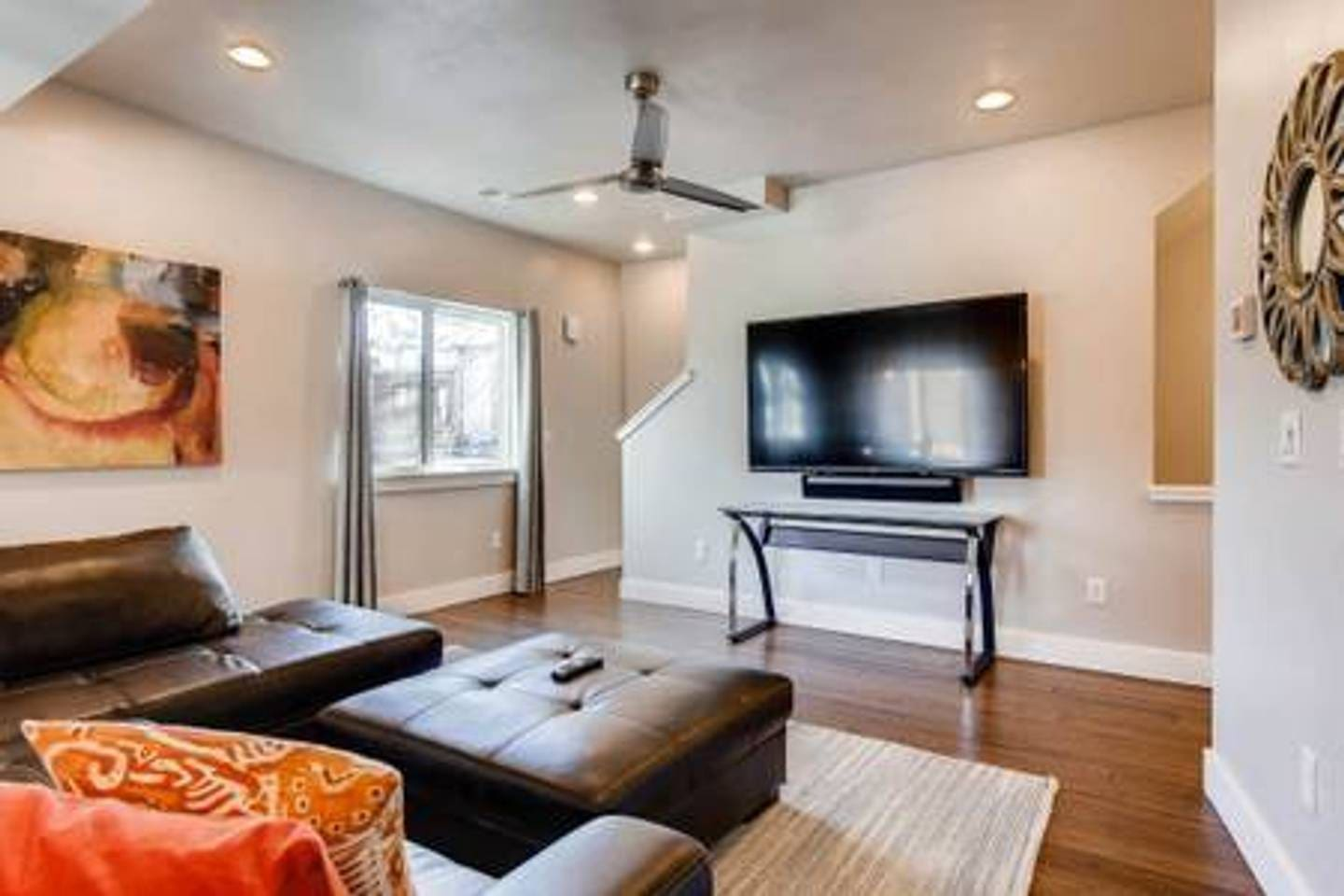 The spacious living room is ideal for entertaining