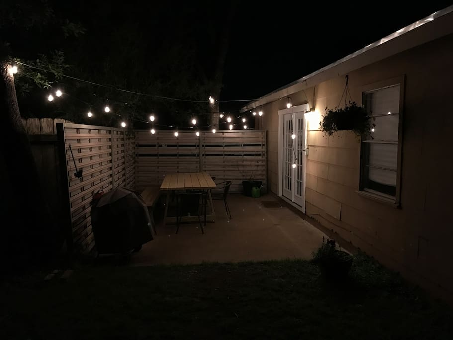 Patio table and lights
