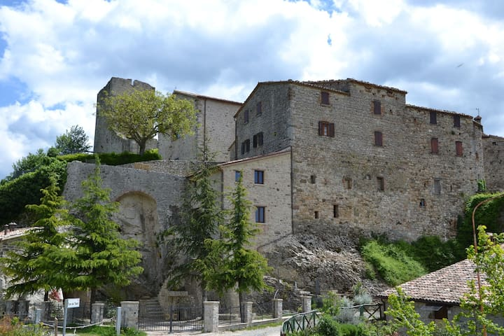 Spacious apartment in a medieval village with beautiful garden and wifi