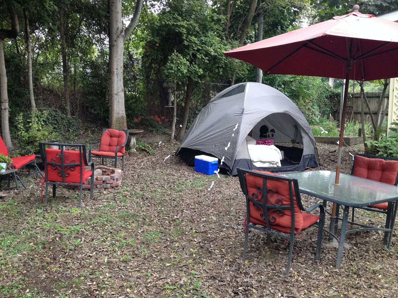 Our fire pit is over to the left...because you're not really camping until you've made smores