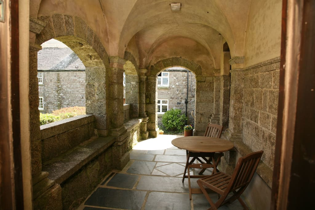 The loggia - a lovely place to sit, overlooking the gardens