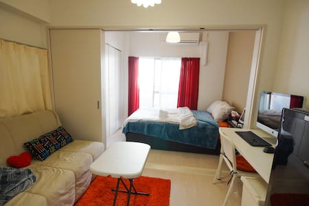 Bland new high roof center namba 2bed + imac desk. - Nishi-ku, Ōsaka-shi - Appartement