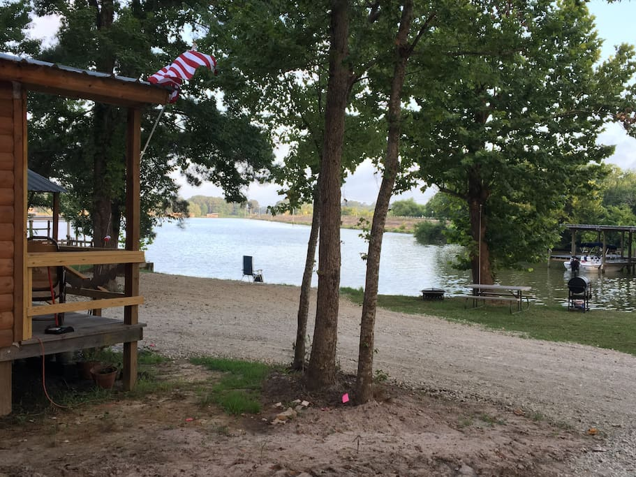 Lake view from Cabin 2 which opens to full 23 mile lake, BBQ, picnic area, boat launch, etc