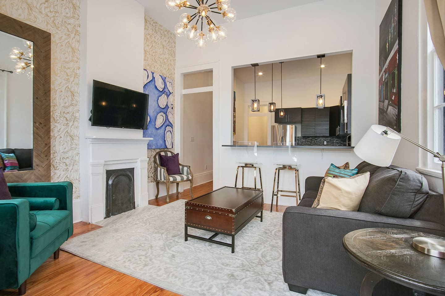 "Amazing living room with enough seating for your friends & family! Enjoy the 55"" Smart TV with Netflix and cable included!"