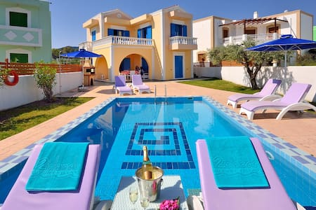 Lux 3bedroom Villa-Private Pool Kolymbia center