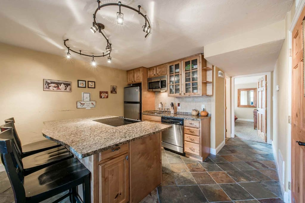 Our condo offers a full gourmet kitchen with stainless steel appliances including a refrigerator, microwave, stove, oven, dishwasher and more.