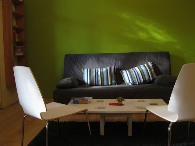 Green room: sofa bed for 2 people, shelves with boardgames and games for children :)