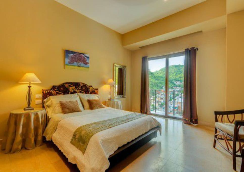 Air conditioned private bedroom with Juliet terrace and beautiful city and mountain view.