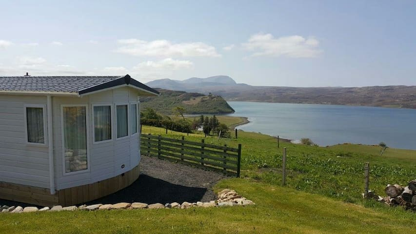 view from caravan picnic table looking towards Varrich Castle