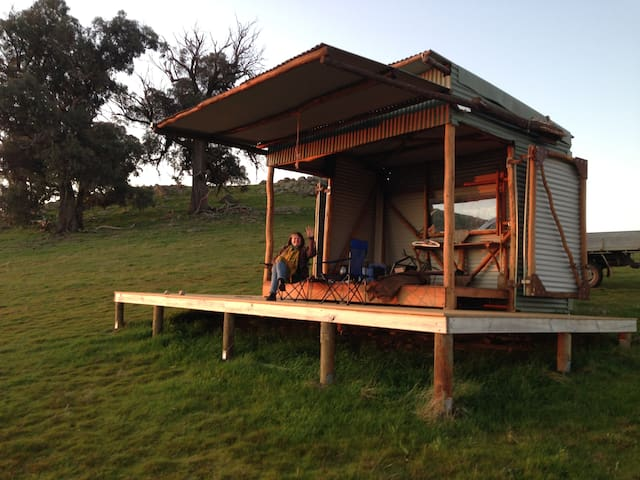 The Hut available for meals on Farm Tour.Views of Lake Hume and Victorian Alps