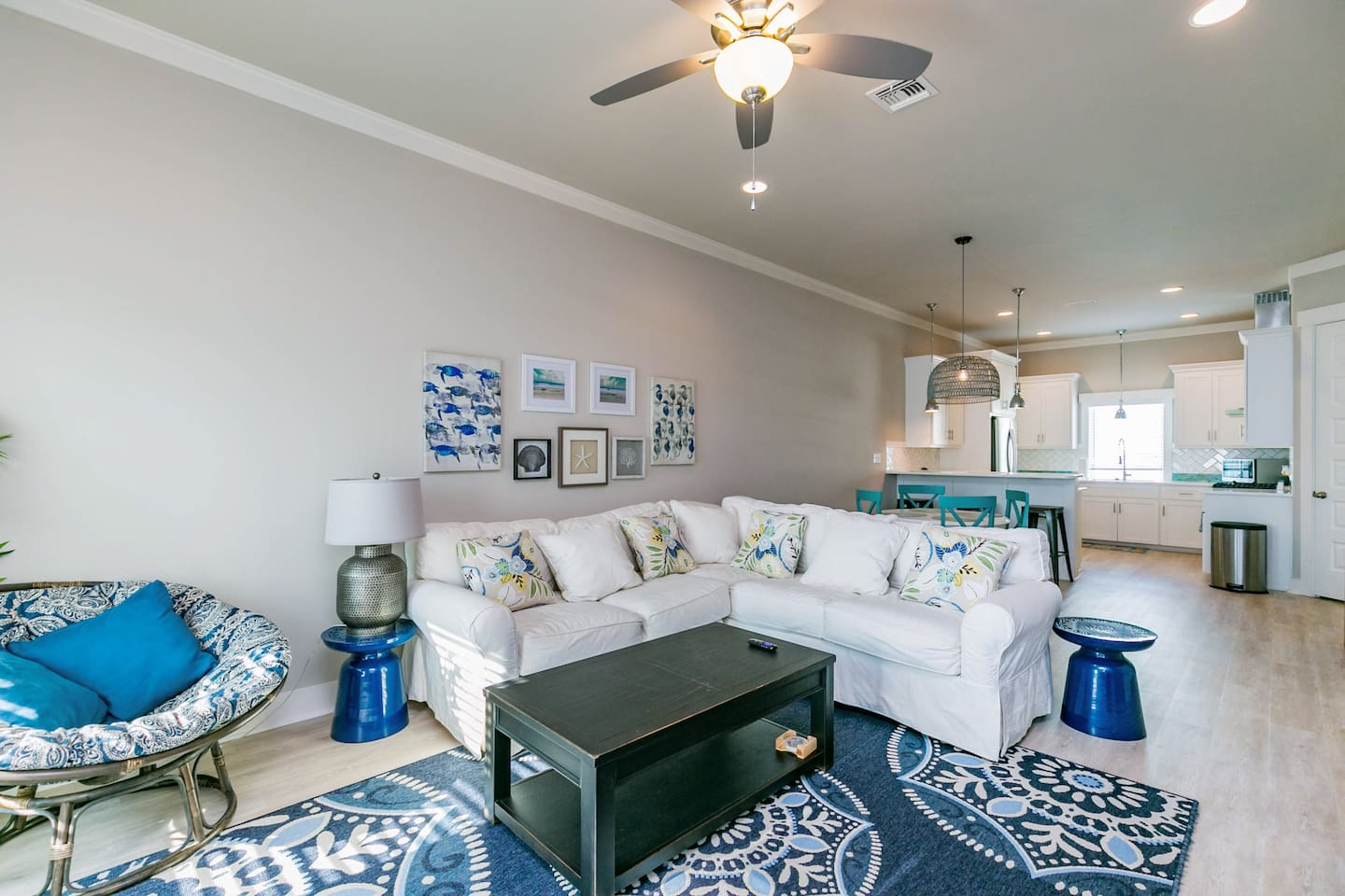 Open-concept living room perfect for movie nights and conversation over hors d'oeuvres.