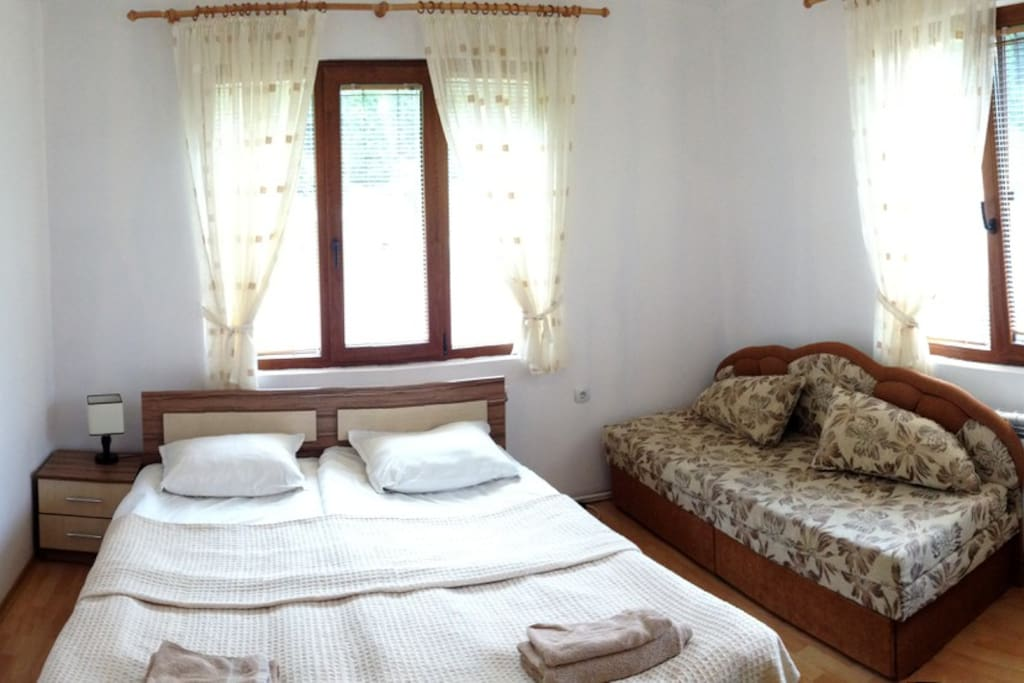 Double bedroom with a sofa + a private bathroom