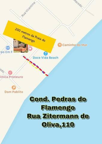 Studio mobiliado a 200 m da Praia do Flamengo.