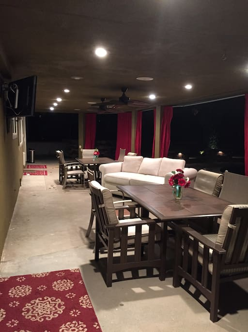 Solid covered patio brings the indoors out.
