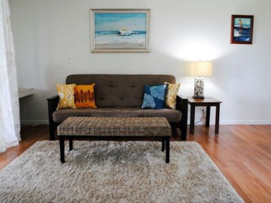 Comfortable fold out couch sleeps 2