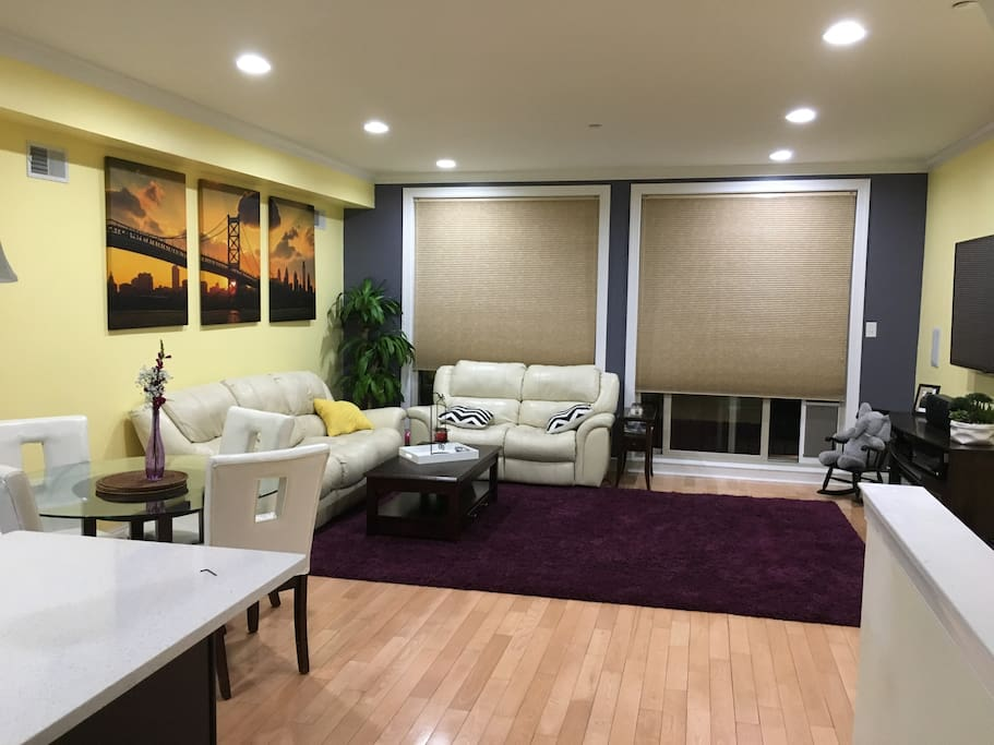 Living room with newly painted accent wall