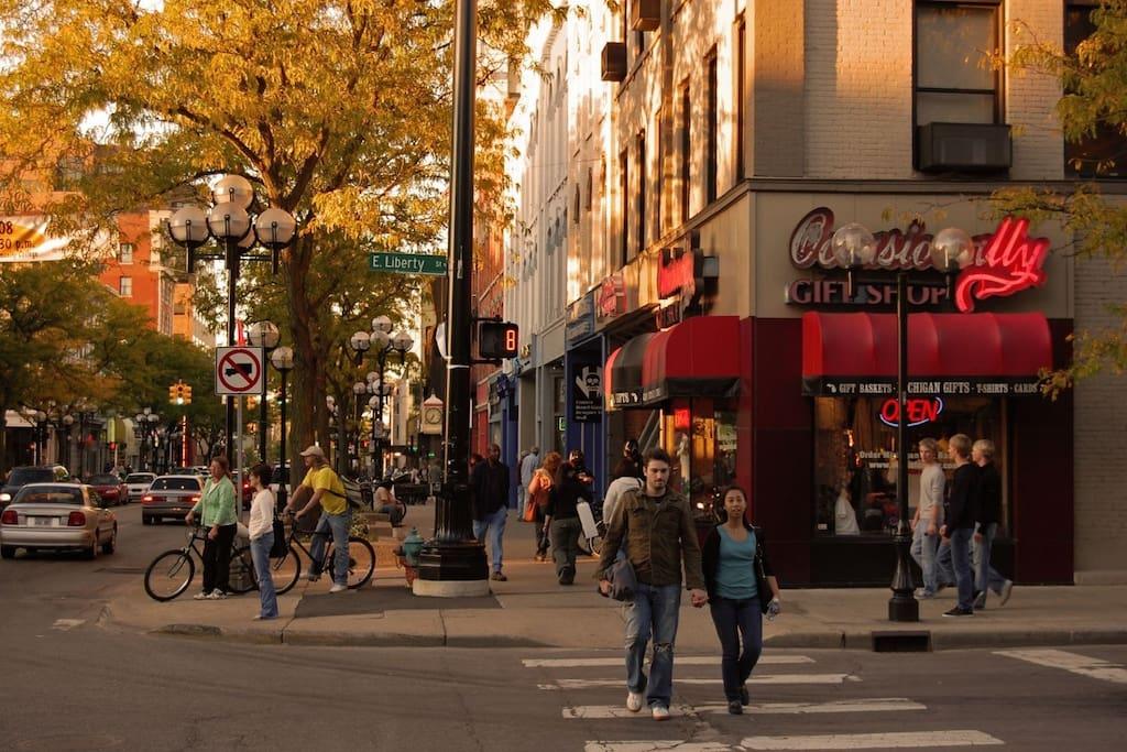 Downtown Ann Arbor is a short 12-minute walk.