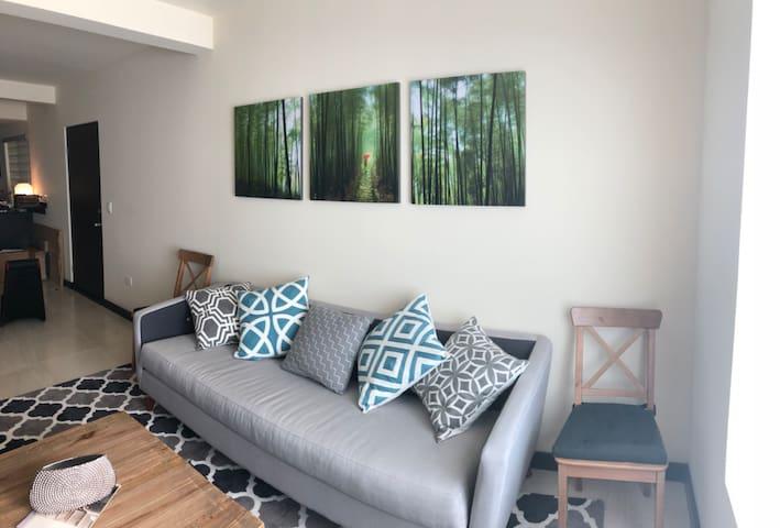 Large living room with televisión / Amplia sala de estar con televisión