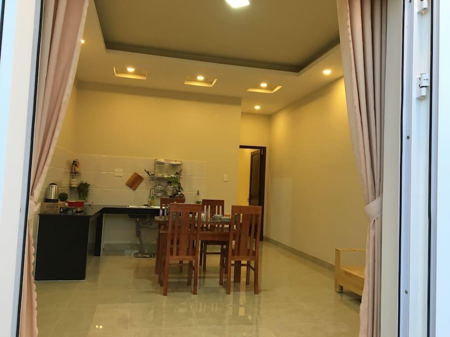 Living room & area kitchen