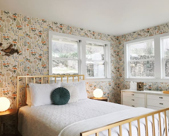 Natural light swallows this lovely room.