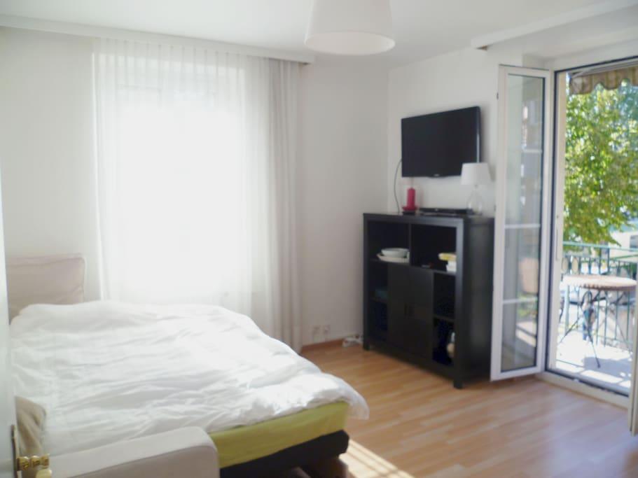 grande chambre moderne avec balcon id al pr couple wohnungen zur miete in lausanne waadt schweiz. Black Bedroom Furniture Sets. Home Design Ideas