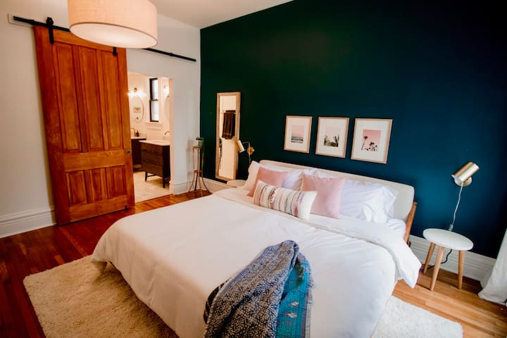 Cozy master bedroom and bathroom on the first story. Memory foam mattress with soft linens.