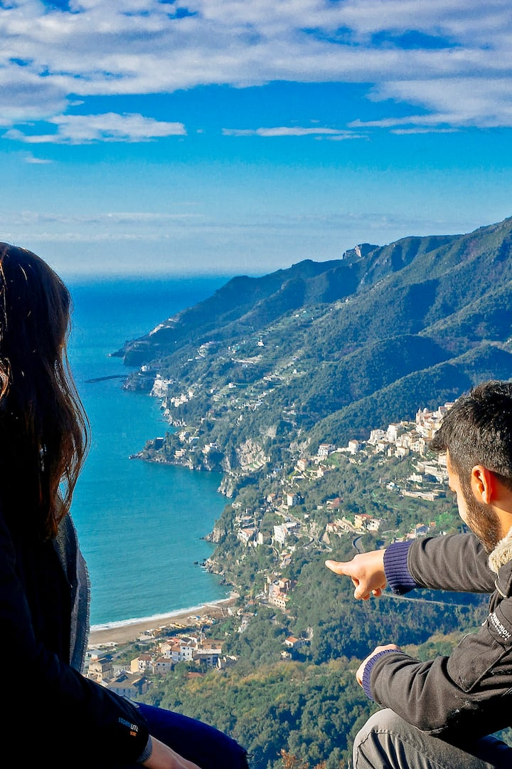 The Amalfi Coast is on your right