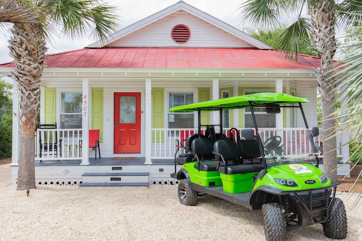 SolMate-GOLF CART-Private Pool-1 block to beach!