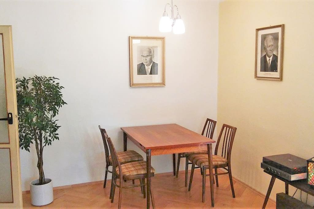 Table setting in the living room with communist leaders Husak and Clementis