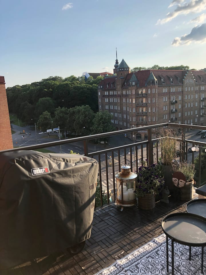 Penthouse with roof terrace next to Slottskogen
