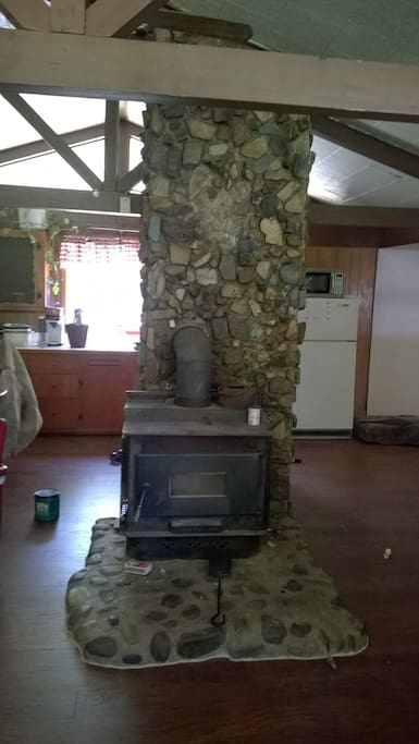 For a cozy spring, fall or winter night OR if the power should go out this woodstove is not pretty to look at but can be used for heat and to cook on!